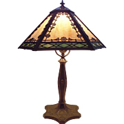 Art Nouveau 2 Color Slag Glass Hexagon Table Lamp with Scalloped Bronze Finished Base Circa 1930 !!!