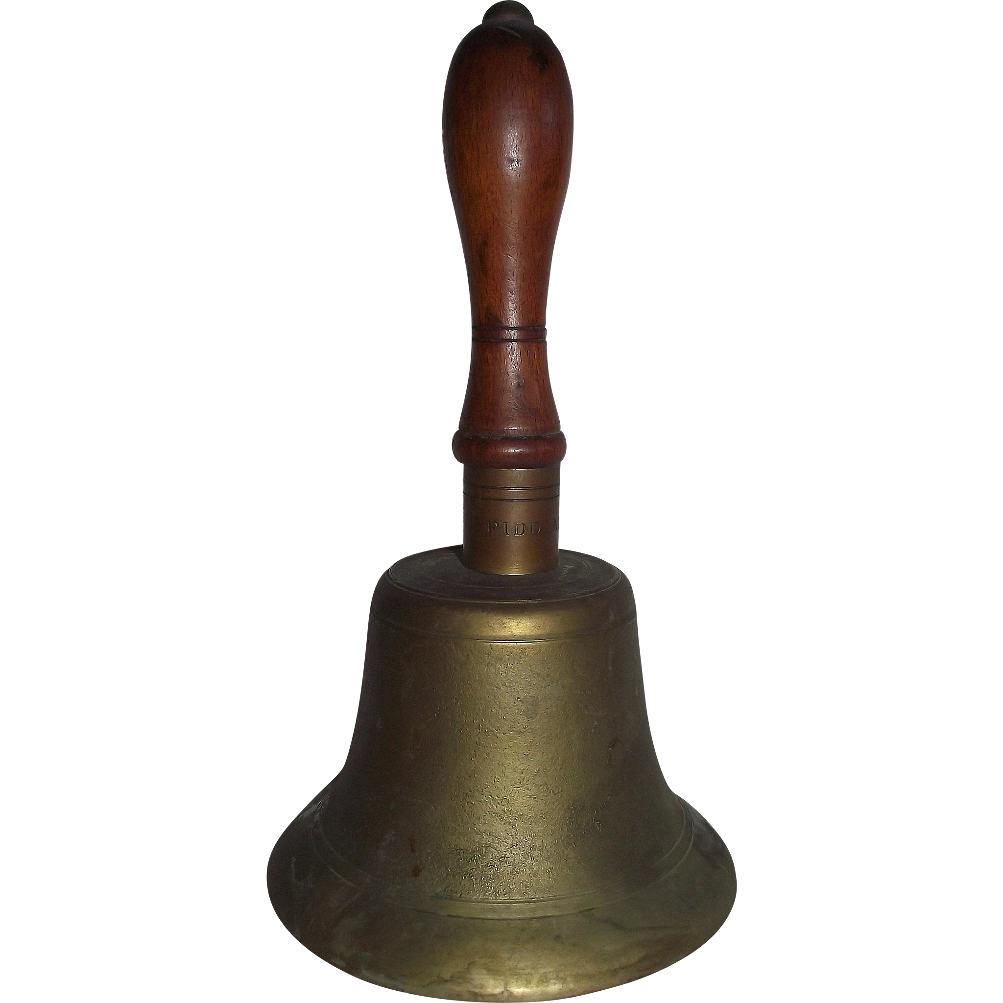 "Authentic WW-2 British ""FIDDIAN"" marked Cast Brass Hand Signal Bell for Ending Civilian Gas Warnings Circa 1940 to 1945 !"