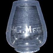 "Presentation Grade Blown Glass Lantern Globe marked ""G.H.G. Mfg. Co."" !!!"