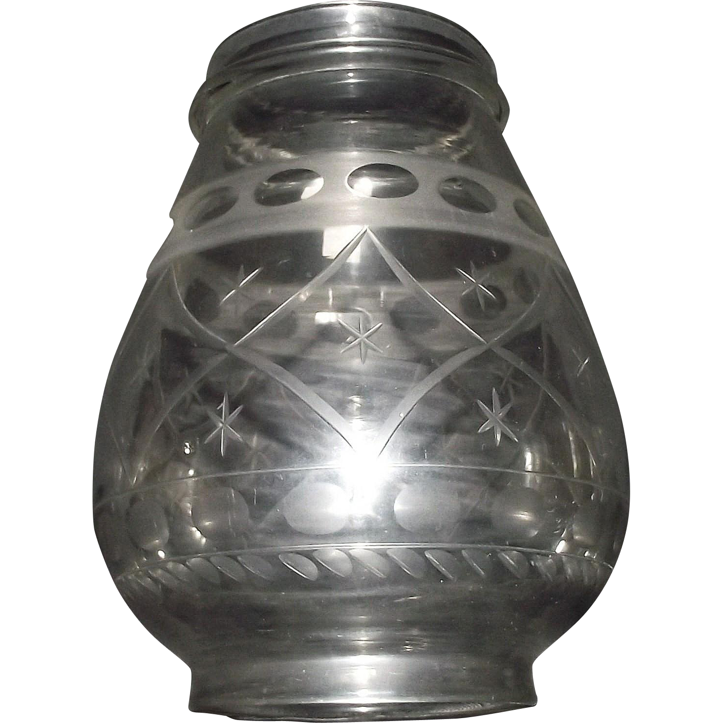 "Presentation Grade Blown Glass Lantern Globe Engraved with ""Quilted Diamonds & Stars"" Pattern !!!"