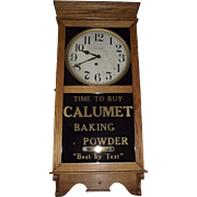 "Advertising Store Regulator Clock marked ""Calumet Baking Powder"" made by E. Ingraham Clock Co.  Circa 1925 !!!"