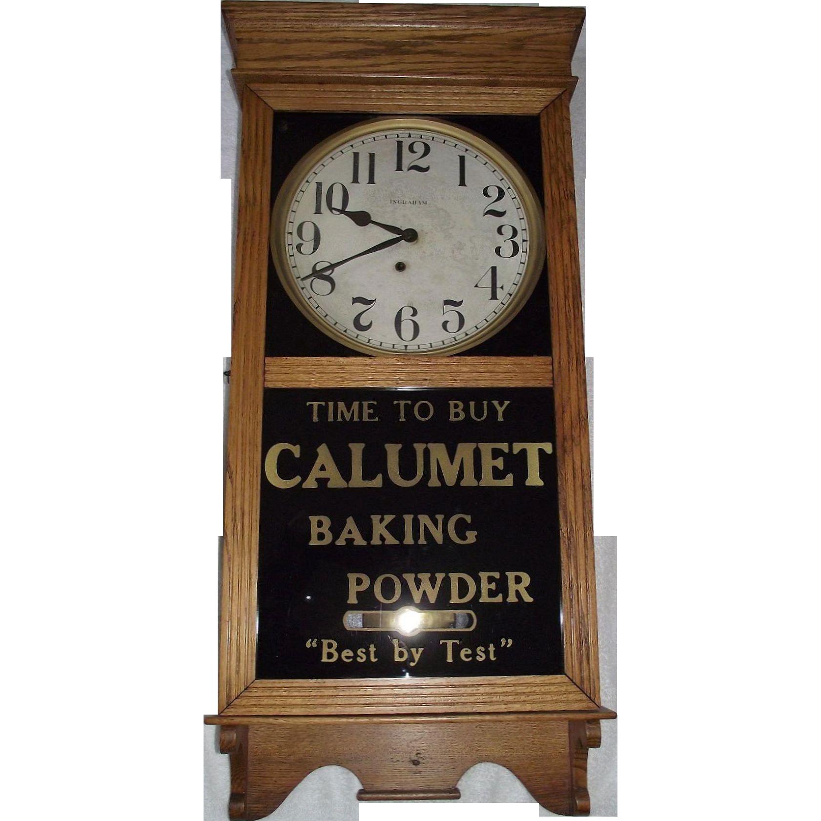 "Advertising Store Regulator Clock marked ""Calumet Baking Powder"" made by E. Ingraham Clock Co.  Circa 1925 !!!"