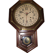 Rich Rosewood & Brass Trim Short-Drop Regulator Clock made by Waterbury Clock Co. Circa 1890 !!!