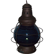 "Marked ""Perkins 8"" Brass Ship's Lantern with Teal Blue Glass Globe ! Perkin's & Perko Trade Marked Lanterns Circa 1916 to 1930."