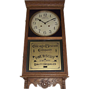 "Fabulous ""Chicago Biscuit Company"" Store Advertising Clock with Time & Strike Circa 1917 !!!"