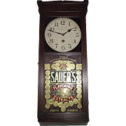 "Awesome Gold Foil ""Sauer's Extract"" Advertising Store Regulator made by ""New Haven Clock Co."" Circa 1917 !!!"