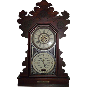 Rare Feichtinger Calendar Clock with 8 Day Time & Strike with Deluxe Alarm in Original Walnut Case Circa 1895 to 1905 !!!