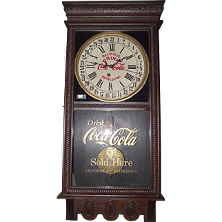 """Authentic """"Coca Cola"""" Advertising Store Regulator Clock with Calendar Date made by the Ingraham Clock Co. Circa 1925 !!!"""