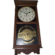 """Chicago & North Western Railway"" Wall Regulator Clock with Waterbury 30 Day Movement !!! Circa"
