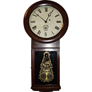 "Authentic ""Long Island Railroad"" Clock in a Circa 1878 Early Seth Thomas # 2 Model Case with reverse Paint Decorated Glass !!!"