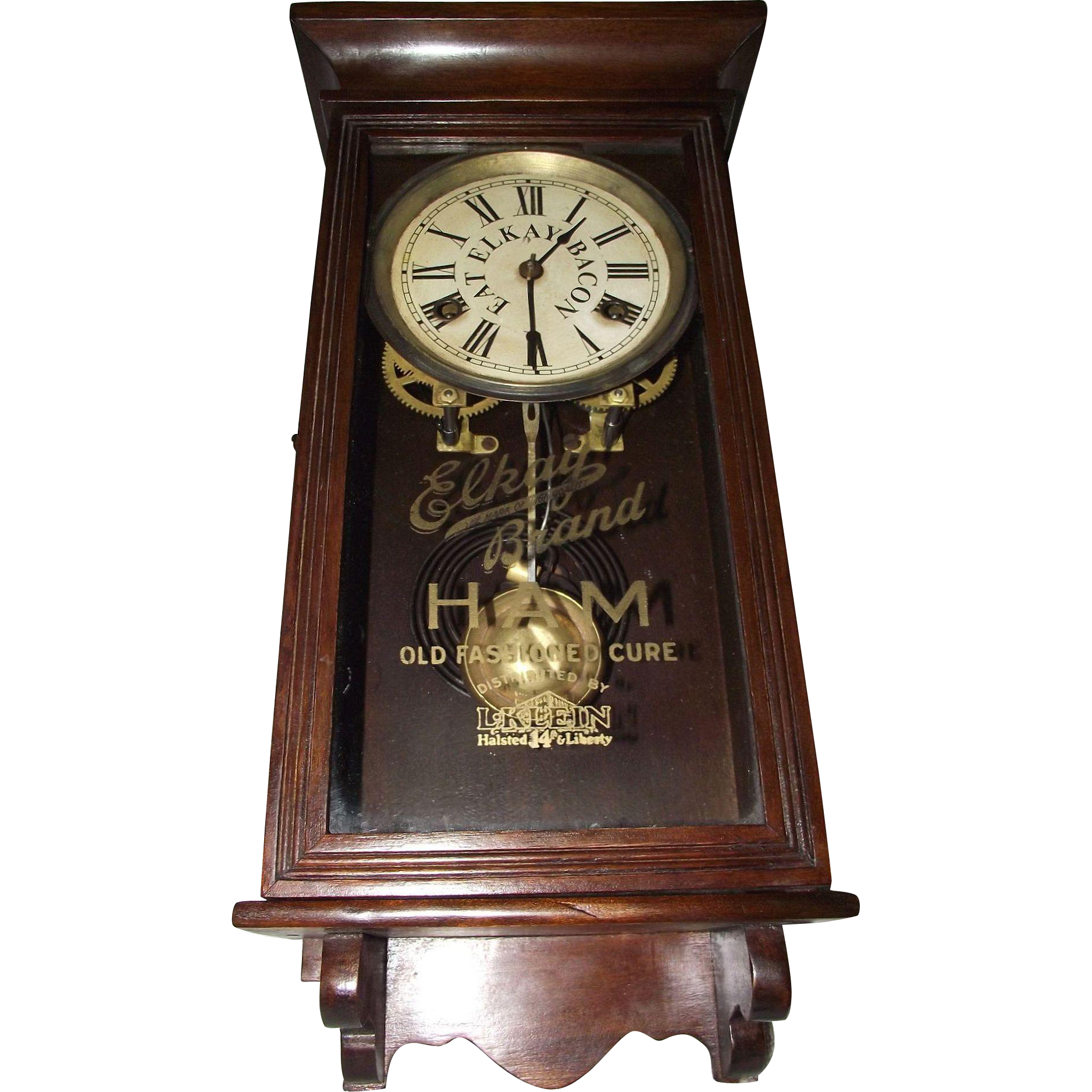 "Very Rare Salesman Sample Size Clock Advertising ""Elkay HAM"" on Dial & Glass Tablet. (Circa 1915-1947)"