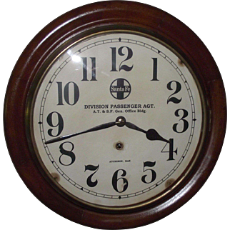 """Division Passenger Agent * A.T. & S.F. Office Bldg. * Atchison,KS.""  marked below the ""Santa Fe"" Logo on the 12 inch Gallery Clock Dial !!!"