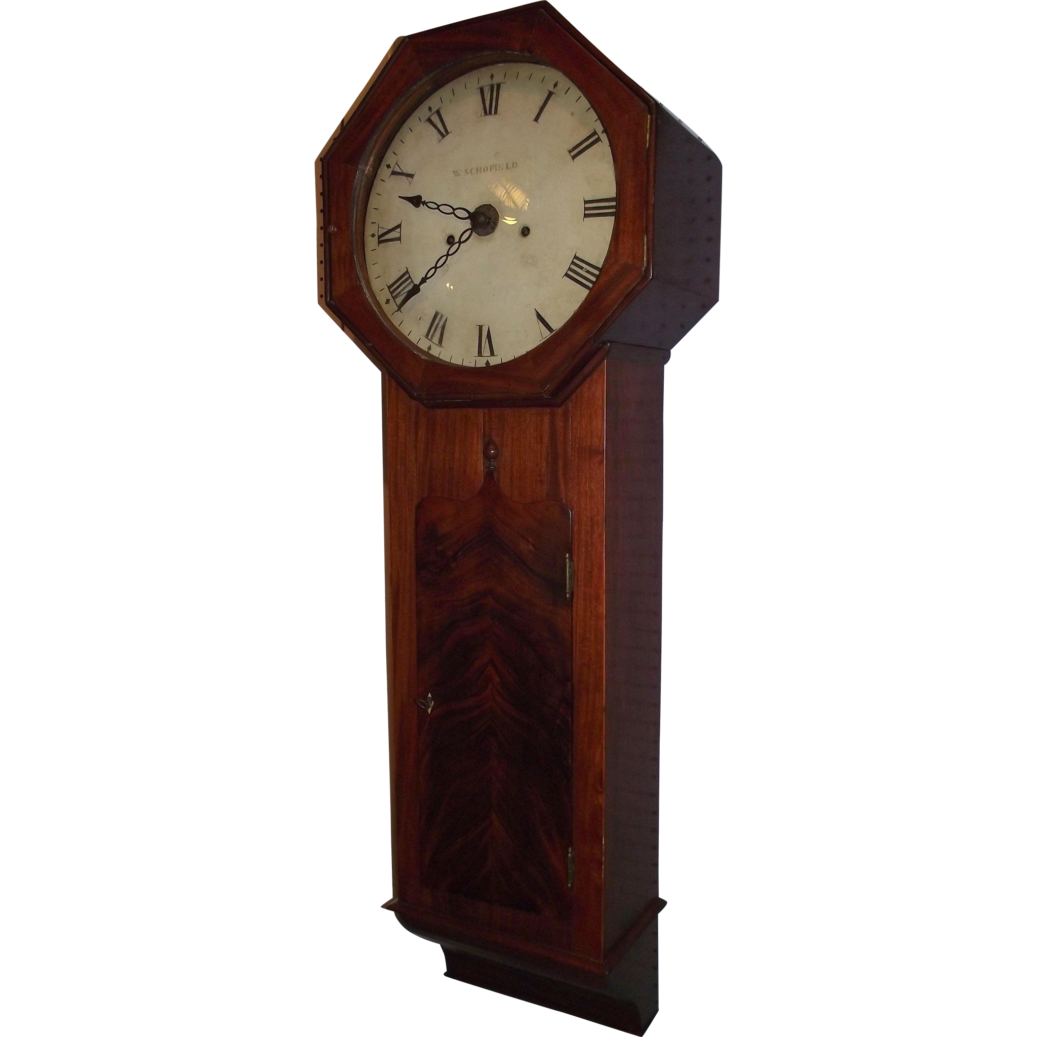 "Signed ""W. Schofield"" English Act Of Parliament Clock, aka Tavern Clock in a Mahogany Case & ALARM Circa 1820 !!!"