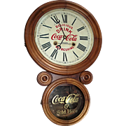 "Rare ""Coca Cola * Detroit Bottling Works"" Advertiser Clock with Calendar Date on an ""Ionic"" Model case made by E. Ingraham Clock Co. circa 1906 to 1915 !!!"