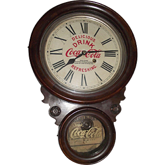 "Rare ""Baton Rouge Coca Cola Bottling Works"" Advertiser Clock with Hourly Strike in a Figure 8 Case made by Ansonia Clock Co. circa 1906 to 1915 !!!"