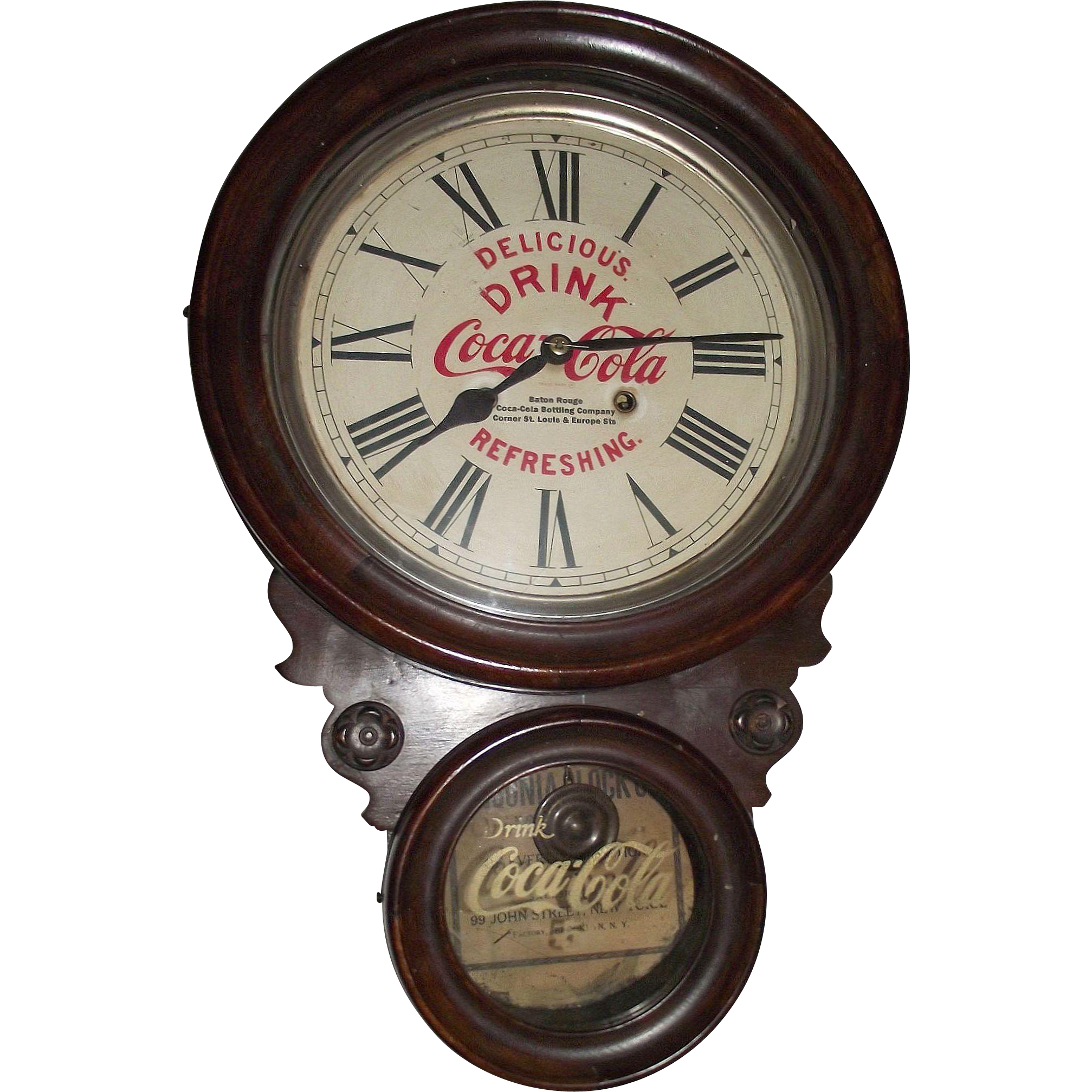 """Rare """"Baton Rouge Coca Cola Bottling Works"""" Advertiser Clock with Hourly Strike in a Figure 8 Case made by Ansonia Clock Co. circa 1906 to 1915 !!!"""