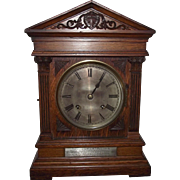 1906 Claybrooke School Presentation Oak Mantle Clock with Winterhalder & Hoffmeier 1/4 Hour Chiming Movement !!!