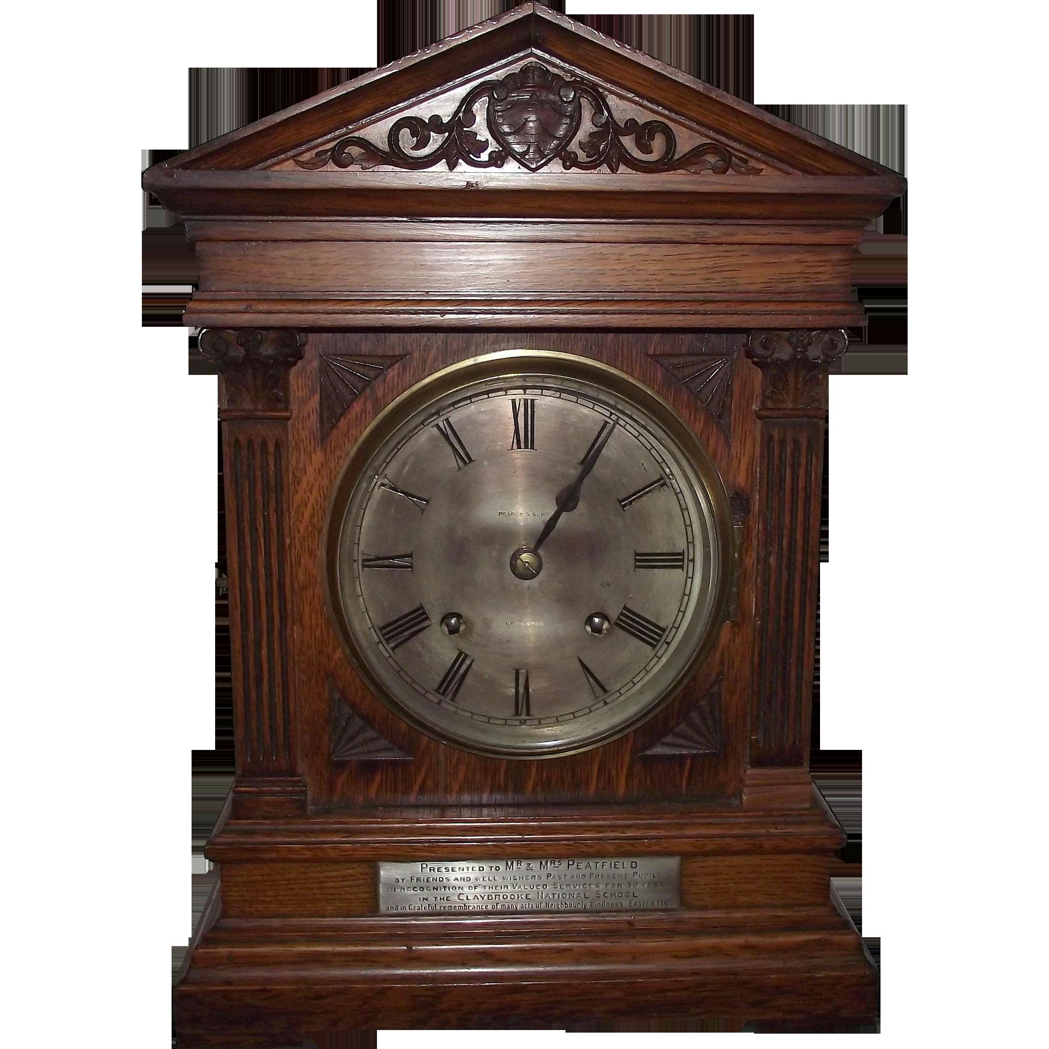 1906 Claybrooke School Presentation Oak Mantle Clock with Winterhalder & Hoffmeier 1/4 Hour Chiming Movement !!!