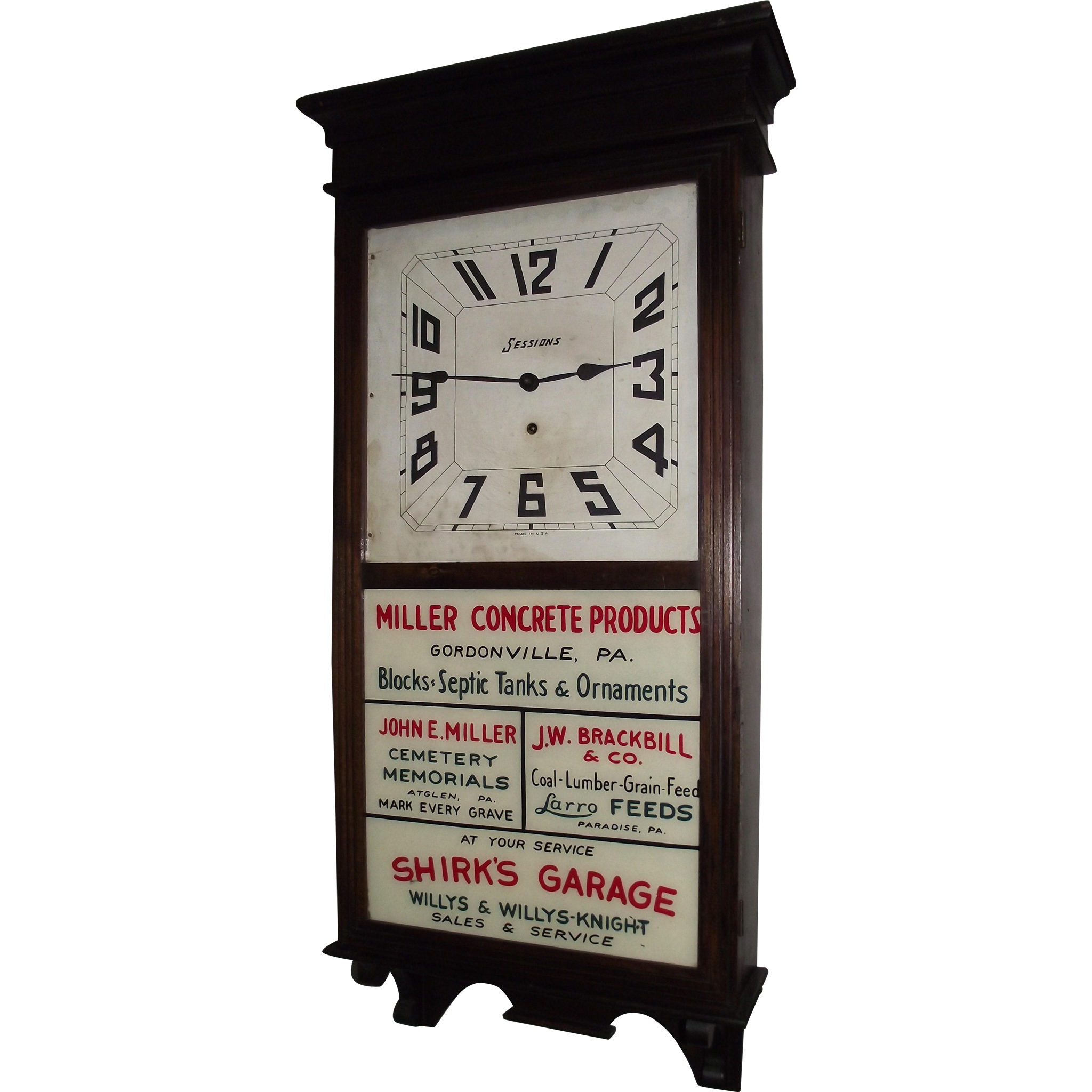 Pennsylvania  Clock with 4 Business Advertisements Circa 1923 !!!