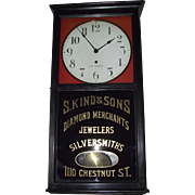 "Seth Thomas Jeweler's Advertising Regulator ""S. Kind & Sons * 1110 Chestnut Street Philadelphia"""