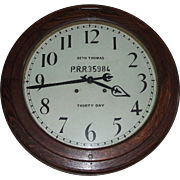 "Pennsylvania Railroad Seth Thomas ""Arcade"" Model, 30 Day Movement Gallery Clock with an 18 inch Dial and 24 inch Solid Oak Case, Dated 1909 !!!"