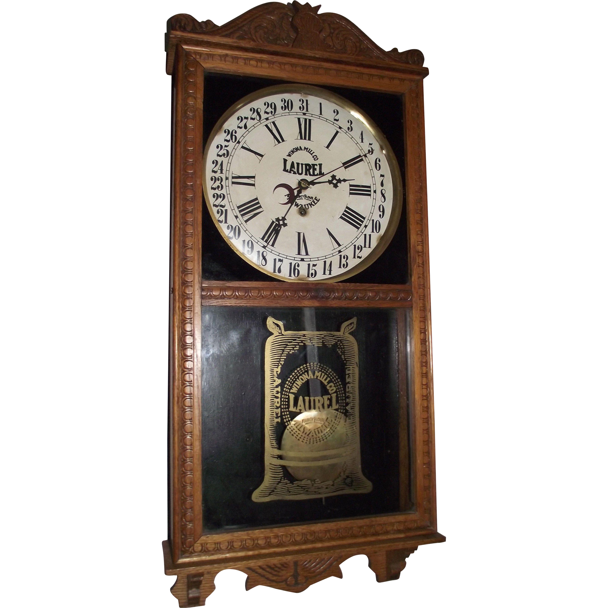 """""""LAUREL Fancy Flour"""" General Store Advertising Clock from the """"Winona Mill Co. in Milwaukee"""" Circa 1925 !!!"""