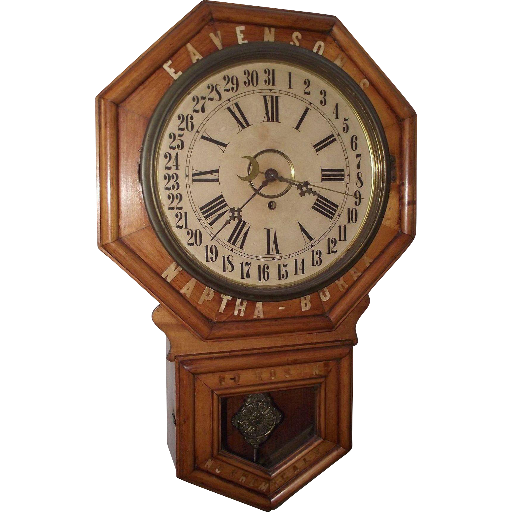 "Original ""Eavenson's * Naptha - Borax"" General Store Regulator Clock Advertising ""No Rosins * No Chemicals"" Circa 1915 !!!"