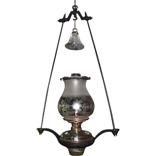 Civil War Period Harp Lamp with Engraved Oregon Type Shade !!!