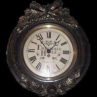 "French ""Delespaul"" Chocolate Gallery Advertising Clock Circa 1940 !!!"