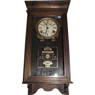 "Rare Half Size ""Star Tobacco"" Advertising Store Clock with Time & Strike Circa 1916 !!!"