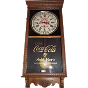 "Super Clean ""Coca-Cola"" Advertising Clock with Day of Month Calendar, made by the Sessions Clock Co. with a Solid Golden Oak Case Circa 1925 !!!"