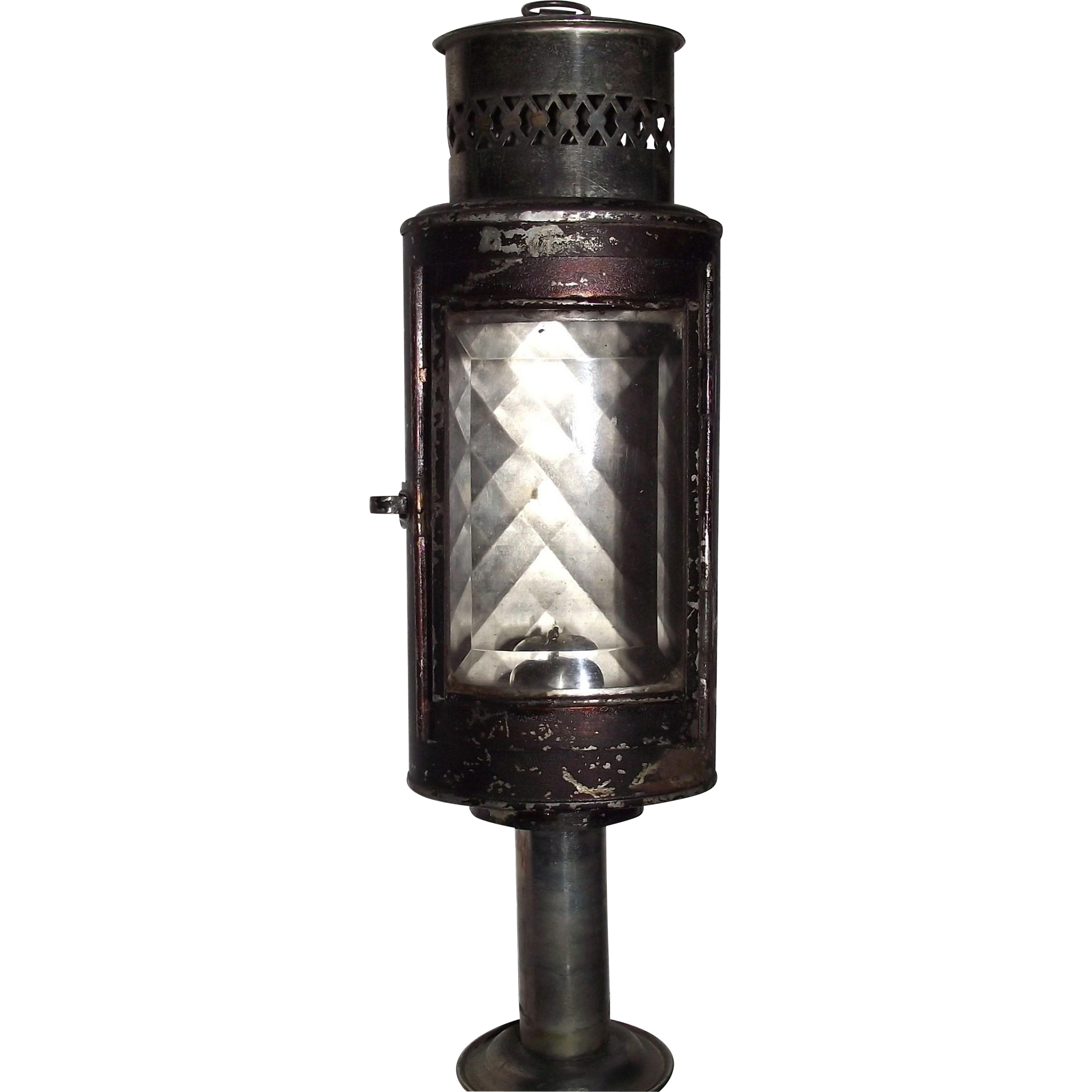 "Rare Collapsible ""Traveler or Skater''s Candle Lantern"" with Beveled Edge Glass circa 1880 !!!"