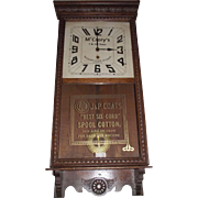 """McCrory's % & 10 Cent Store & J. P. Coats Spool Cotton"" Dual Advertising Clock, made by the Sessions Clock Co. in a Solid Oak Case circa 1930 !!"