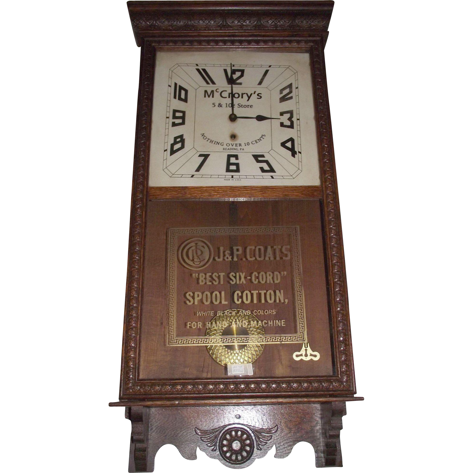 """McCrory's 5 & 10 Cent Store & J. P. Coats Spool Cotton"" Dual Advertising Clock, made by the Sessions Clock Co. in a Solid Oak Case circa 1930 !!"