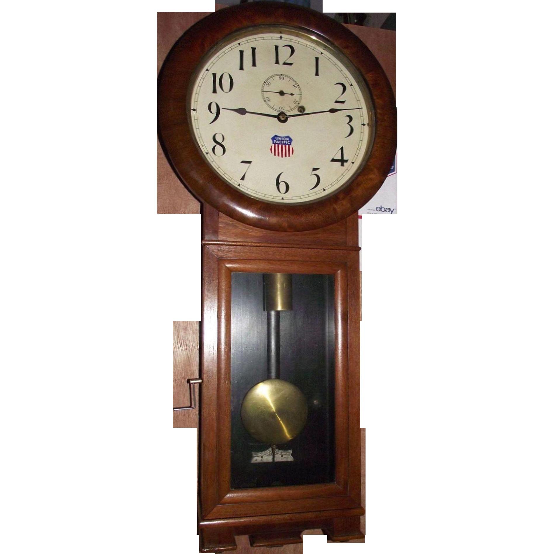 Early union pacific railway seth thomas 2 regulator clock with early union pacific railway seth thomas 2 regulator clock with 3 piece bottom in a pristine walnut case circa 1913 amipublicfo Gallery