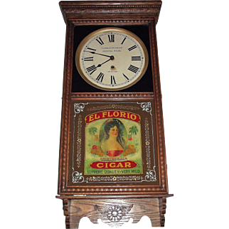 "Super Colorful ""El Floria * Aristocrat Cigars"" Reverse Decorated Advertising Glass in a General Store Clock with a Golden Oak Case Circa 1925 !!!"