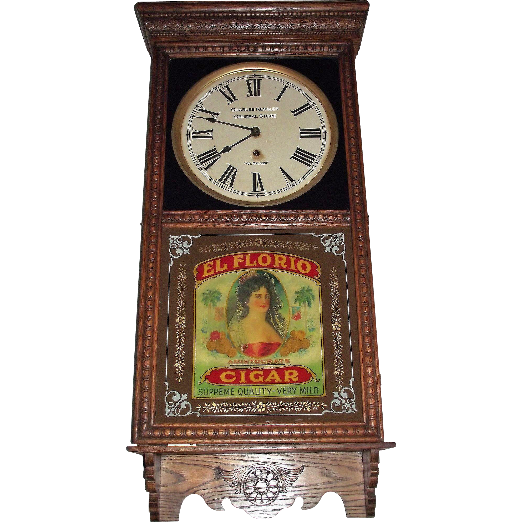 """Super Colorful """"El Floria * Aristocrat Cigars"""" Reverse Decorated Advertising Glass in a General Store Clock with a Golden Oak Case Circa 1925 !!!"""