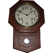 "Near Mint Original ""Seth Thomas Octagon 8 inch Short Drop"" Clock with Time & Strike in a Solid Oak Schoolhouse Case dated 1918 !"