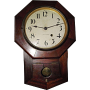 "Rare ""Solid Mahogany Seth Thomas 8 inch Octagon"" Short Drop Wall Clock circa 1920's !"