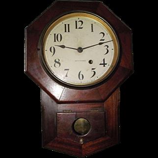 """Rare """"Solid Mahogany Seth Thomas 8 inch Octagon"""" Short Drop Wall Clock circa 1920's !"""