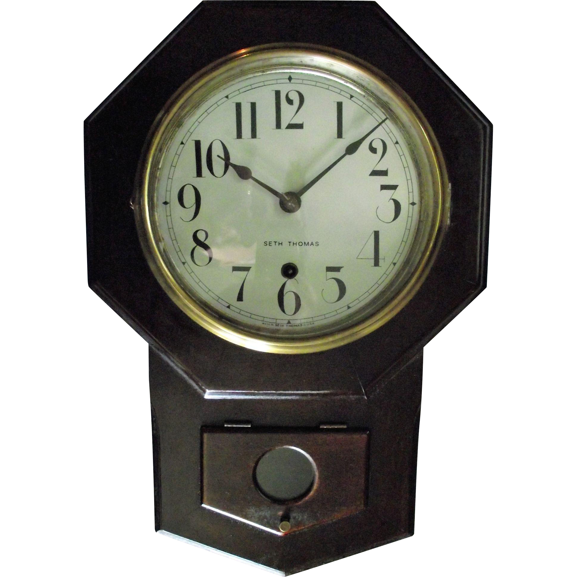"Original Seth Thomas ""Octagon 8 inch Short Drop"" Wall Clock in Rare Solid Mahogany Case circa 1920's !"
