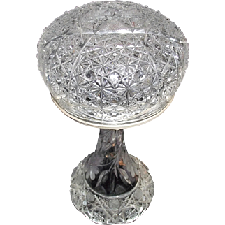 "Ladies ""Cut Crystal Glass""  Budoir Light with Nickel Plated Metal Hardware Circa 1920 !"