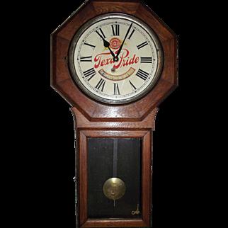 "RARE ""Texas Pride Beer"" Wind Up 8 Day Advertising Clock circa 1911 !!!"