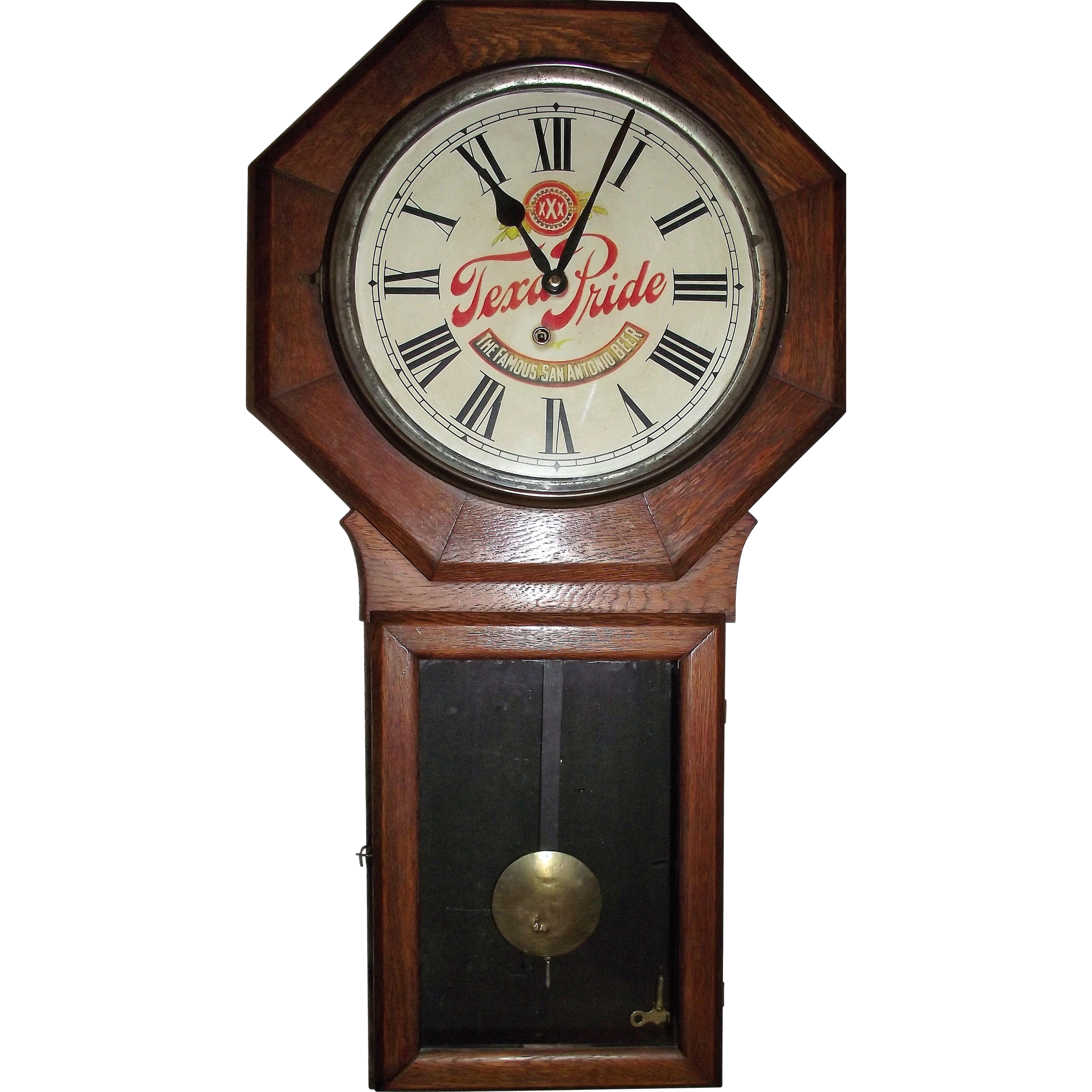"RARE ""Texas Pride Beer"" Wind Up 8 Day Advertising Clock circa 1911 !!!"