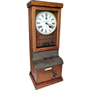 """Pittsburgh & Lake Erie Railroad"" Workers Time Clock from the ""Geauga Lake Depot * Aurora,Ohio"" !!!  National Time Recorder Circa 1920's."