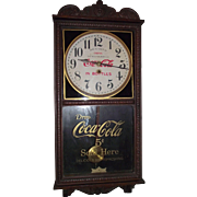 "Combination ""Coca-Cola & F.W. Woolworth Store"" Advertising Clock, made by the Waterbury Clock Co. with a Solid Oak Case Circa 1925 !!!"
