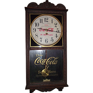 """Combination """"Coca-Cola & F.W. Woolworth Store"""" Advertising Clock, made by the Waterbury Clock Co. with a Solid Oak Case Circa 1925 !!!"""