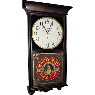 """""""Smith's Cigar Store & Pool Hall"""" Clock with """"Napolean 10 Cent Cigars"""" Advertising Glass on lower Glass Circa 1920 !!!"""