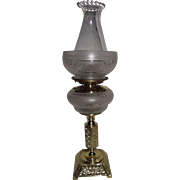 Awesome Frosted, Cut to Clear Oil Lamp & Fabulous Cut Shade Circa 1870  !!!