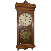 """Chicago & Northwestern Railroad"" Clock in a Rare Seth Thomas Model No. 30 Case in Golden Oak !!!"